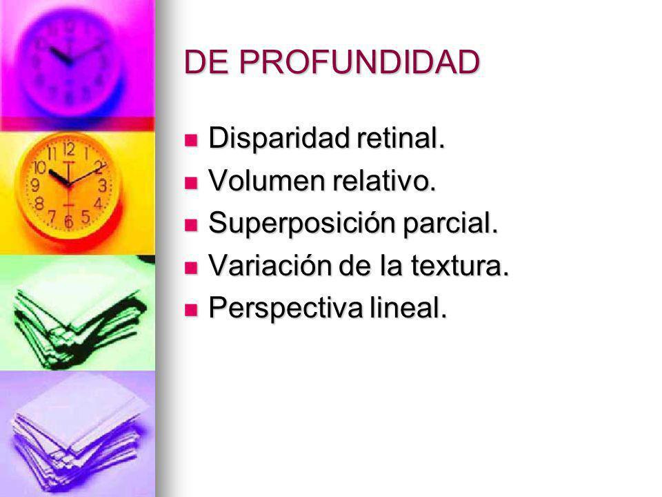 DE PROFUNDIDAD Disparidad retinal. Disparidad retinal. Volumen relativo. Volumen relativo. Superposición parcial. Superposición parcial. Variación de