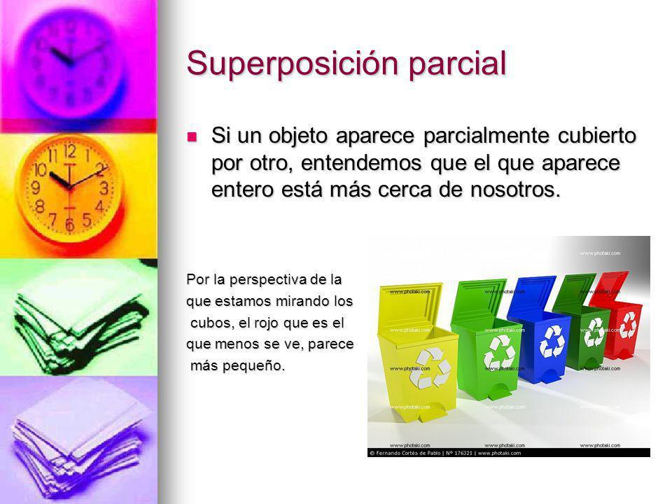 Superposición parcial Si un objeto aparece parcialmente cubierto por otro, entendemos que el que aparece entero está más cerca de nosotros. Si un obje
