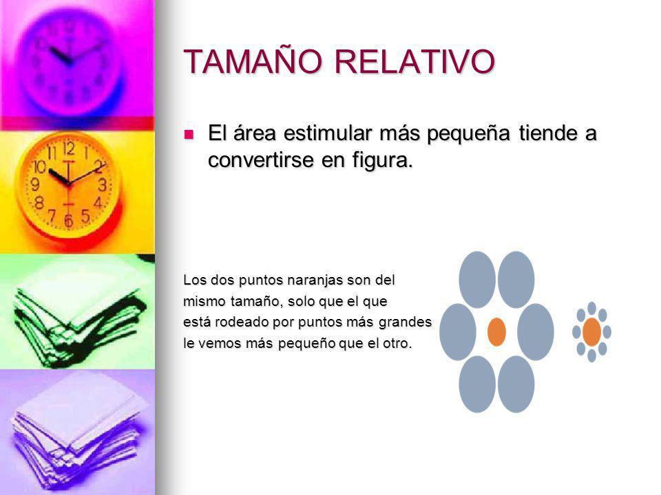 TAMAÑO RELATIVO El área estimular más pequeña tiende a convertirse en figura. El área estimular más pequeña tiende a convertirse en figura. Los dos pu