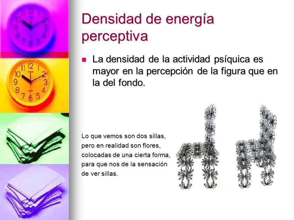 Densidad de energía perceptiva La densidad de la actividad psíquica es mayor en la percepción de la figura que en la del fondo. La densidad de la acti