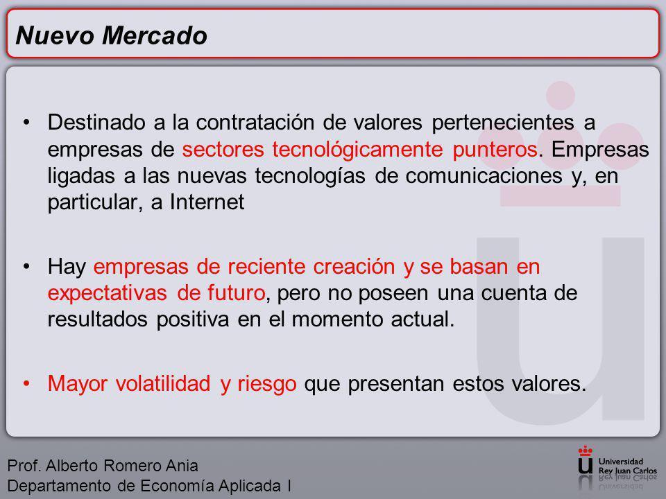 Nuevo Mercado Destinado a la contratación de valores pertenecientes a empresas de sectores tecnológicamente punteros.