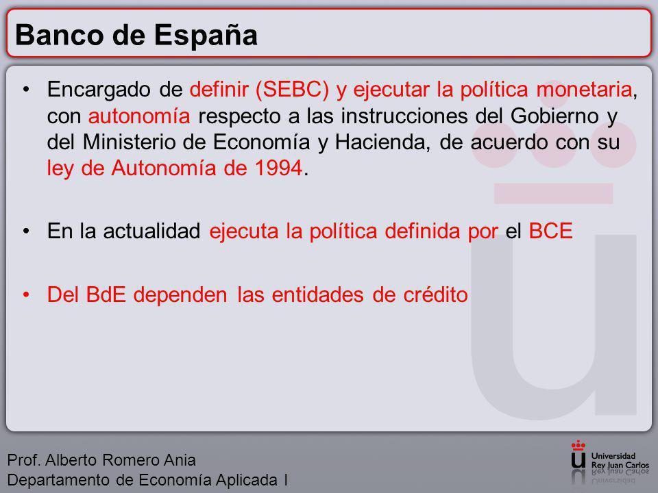 Banco de España Encargado de definir (SEBC) y ejecutar la política monetaria, con autonomía respecto a las instrucciones del Gobierno y del Ministerio de Economía y Hacienda, de acuerdo con su ley de Autonomía de 1994.