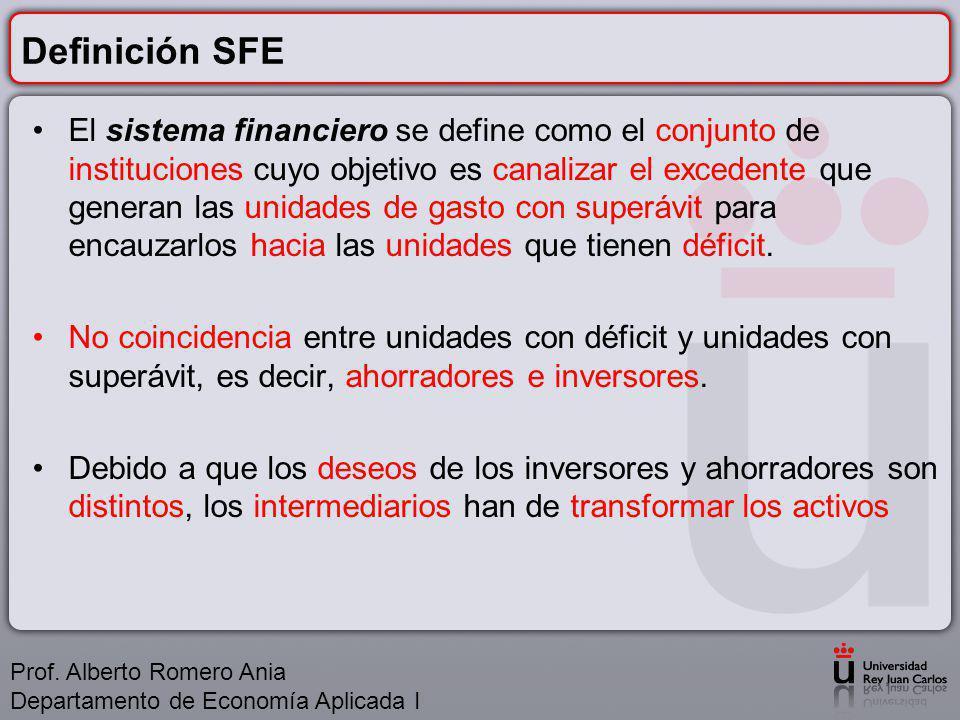 Definición SFE El sistema financiero se define como el conjunto de instituciones cuyo objetivo es canalizar el excedente que generan las unidades de gasto con superávit para encauzarlos hacia las unidades que tienen déficit.
