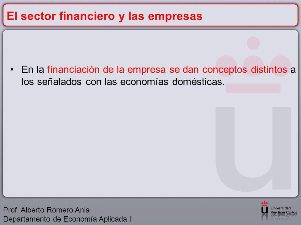 El sector financiero y las empresas En la financiación de la empresa se dan conceptos distintos a los señalados con las economías domésticas.