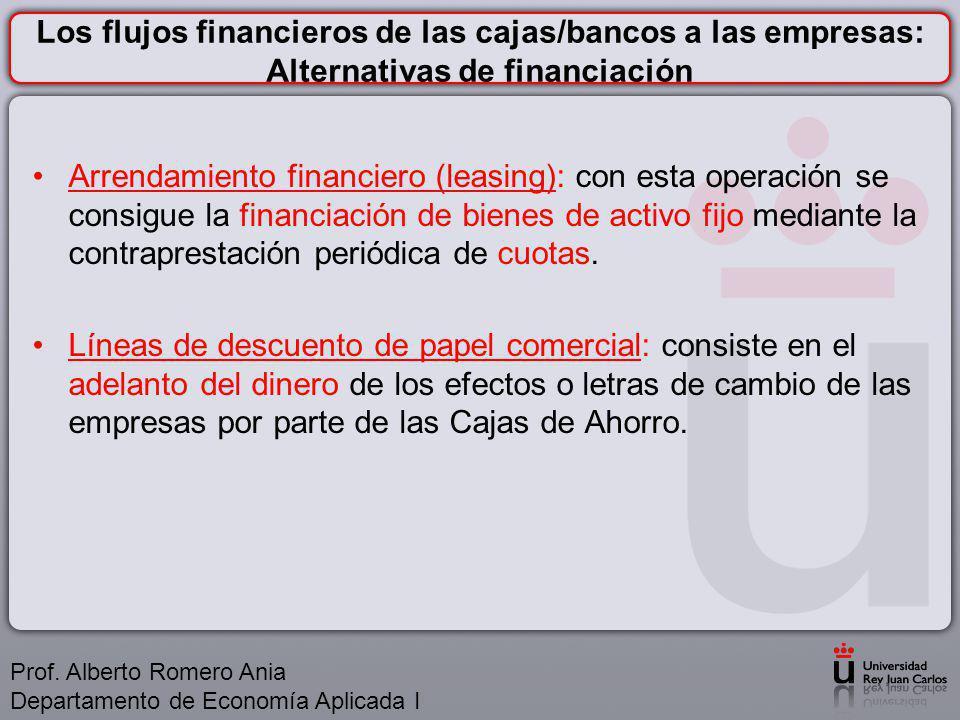 Los flujos financieros de las cajas/bancos a las empresas: Alternativas de financiación Arrendamiento financiero (leasing): con esta operación se consigue la financiación de bienes de activo fijo mediante la contraprestación periódica de cuotas.