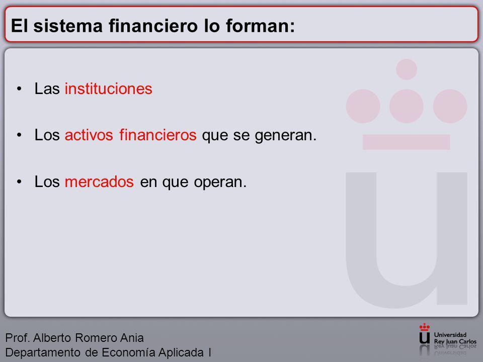 El sistema financiero lo forman: Las instituciones Los activos financieros que se generan.
