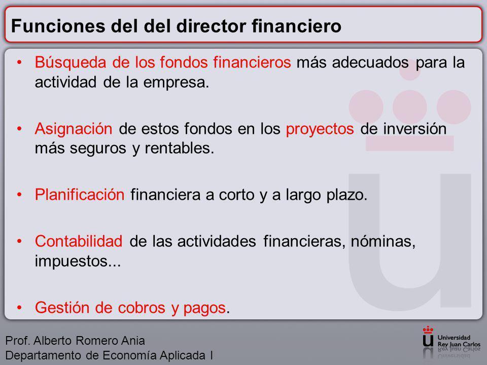 Funciones del del director financiero Búsqueda de los fondos financieros más adecuados para la actividad de la empresa.
