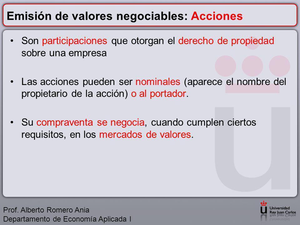 Emisión de valores negociables: Acciones Son participaciones que otorgan el derecho de propiedad sobre una empresa Las acciones pueden ser nominales (aparece el nombre del propietario de la acción) o al portador.