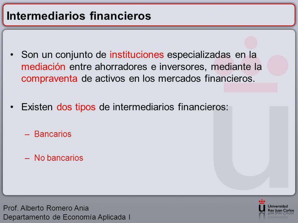 Intermediarios financieros Son un conjunto de instituciones especializadas en la mediación entre ahorradores e inversores, mediante la compraventa de activos en los mercados financieros.