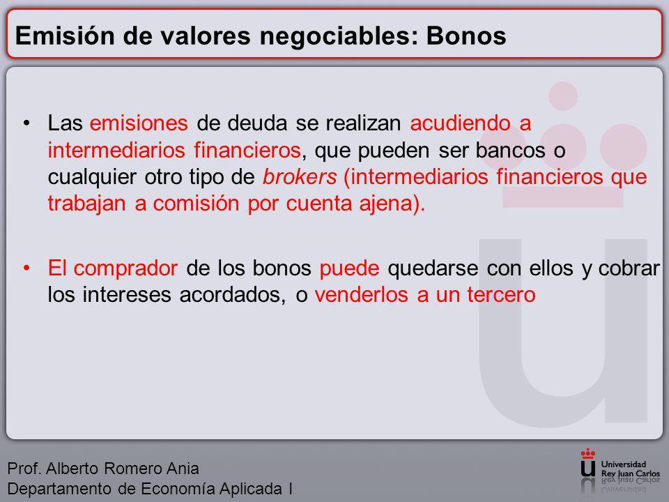 Emisión de valores negociables: Bonos Las emisiones de deuda se realizan acudiendo a intermediarios financieros, que pueden ser bancos o cualquier otro tipo de brokers (intermediarios financieros que trabajan a comisión por cuenta ajena).