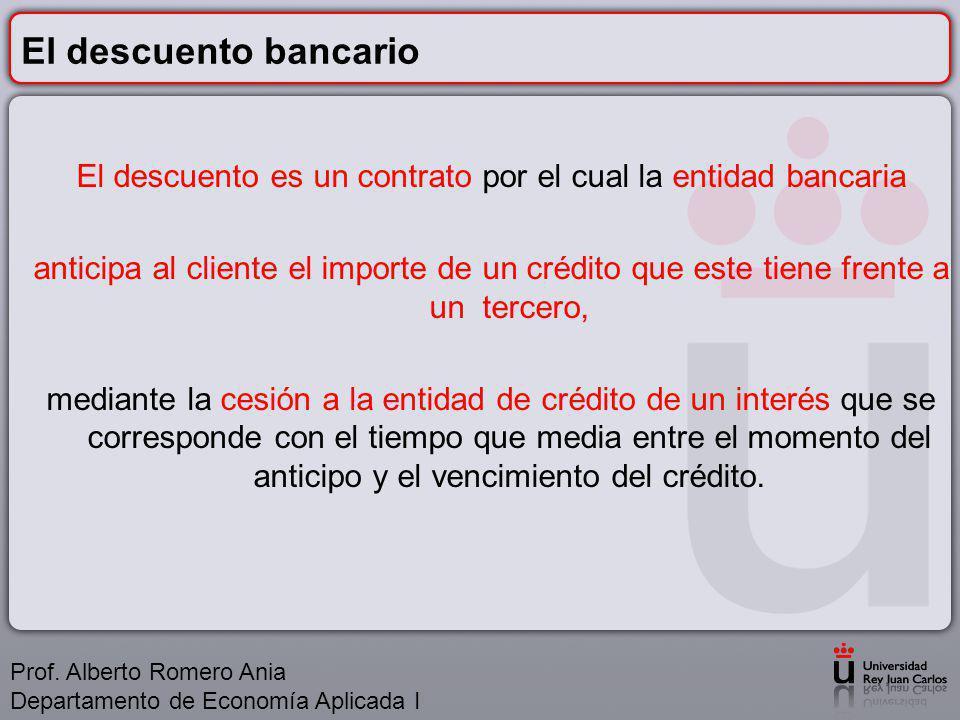 El descuento bancario El descuento es un contrato por el cual la entidad bancaria anticipa al cliente el importe de un crédito que este tiene frente a un tercero, mediante la cesión a la entidad de crédito de un interés que se corresponde con el tiempo que media entre el momento del anticipo y el vencimiento del crédito.