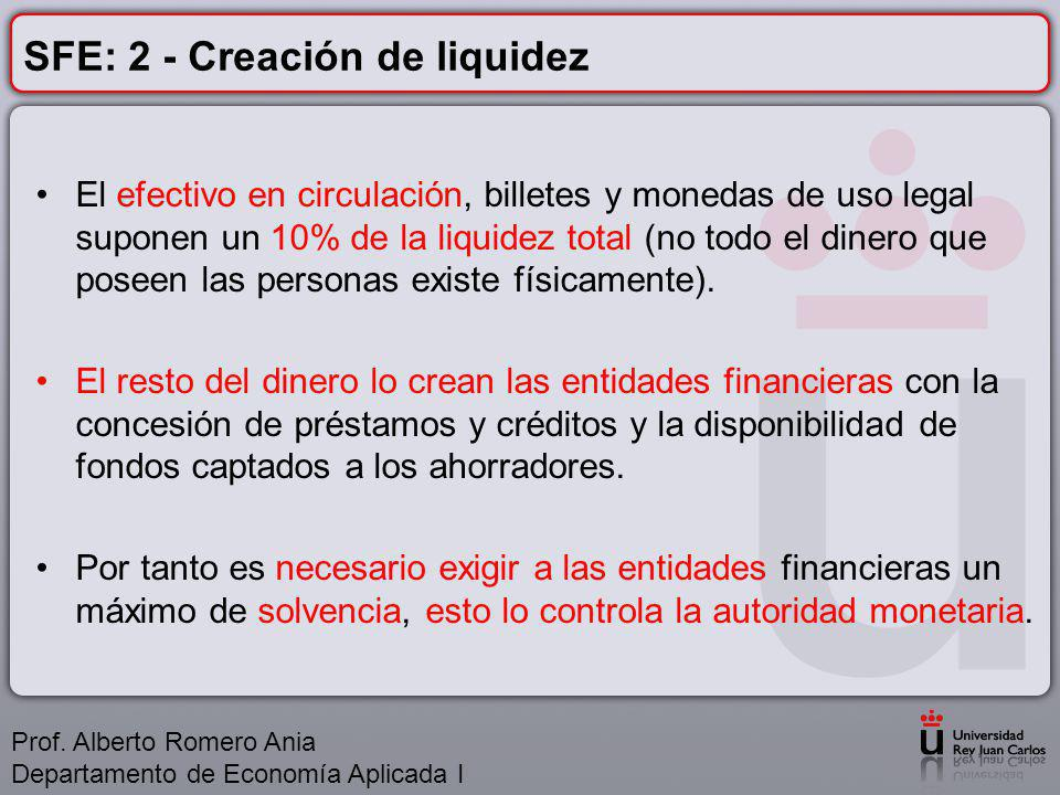 SFE: 2 - Creación de liquidez El efectivo en circulación, billetes y monedas de uso legal suponen un 10% de la liquidez total (no todo el dinero que poseen las personas existe físicamente).