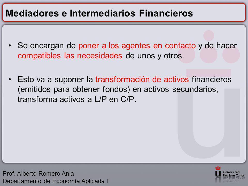 Mediadores e Intermediarios Financieros Se encargan de poner a los agentes en contacto y de hacer compatibles las necesidades de unos y otros.