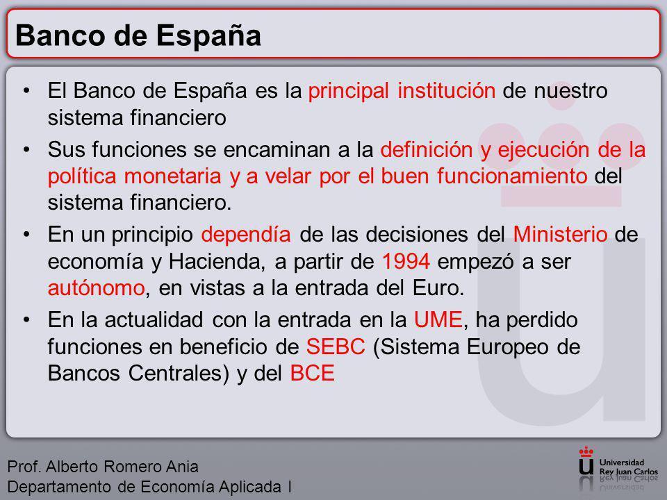 Banco de España El Banco de España es la principal institución de nuestro sistema financiero Sus funciones se encaminan a la definición y ejecución de la política monetaria y a velar por el buen funcionamiento del sistema financiero.