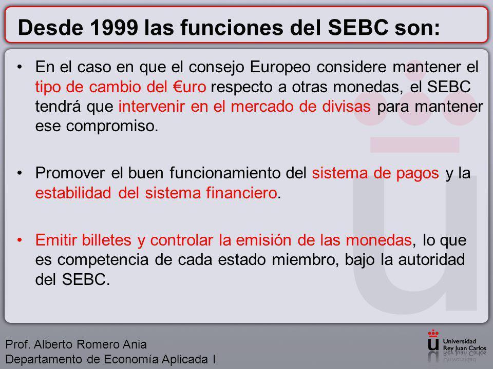 Desde 1999 las funciones del SEBC son: En el caso en que el consejo Europeo considere mantener el tipo de cambio del uro respecto a otras monedas, el SEBC tendrá que intervenir en el mercado de divisas para mantener ese compromiso.