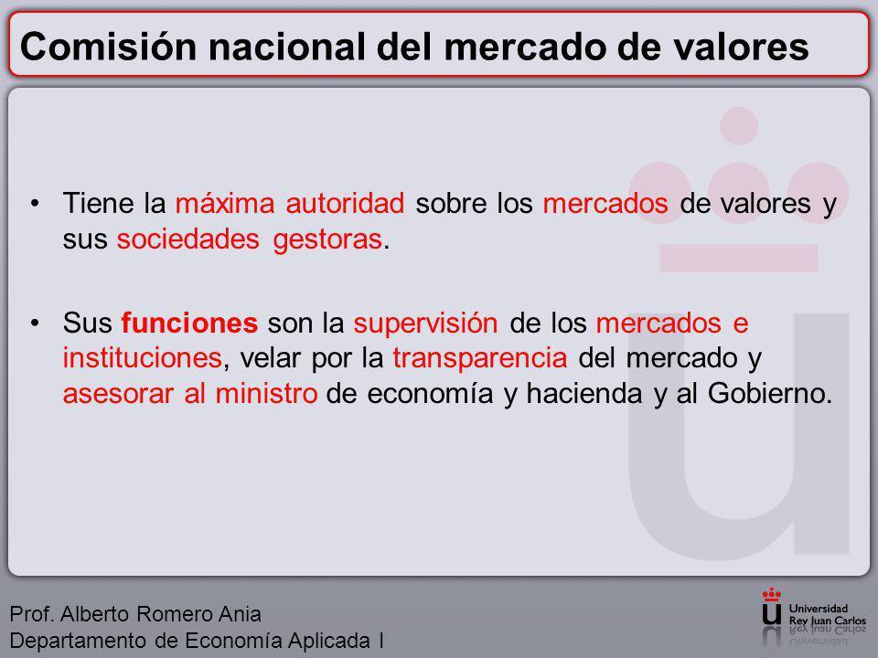 Comisión nacional del mercado de valores Tiene la máxima autoridad sobre los mercados de valores y sus sociedades gestoras.