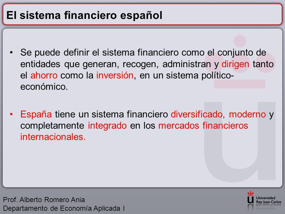El sistema financiero español Se puede definir el sistema financiero como el conjunto de entidades que generan, recogen, administran y dirigen tanto el ahorro como la inversión, en un sistema político- económico.