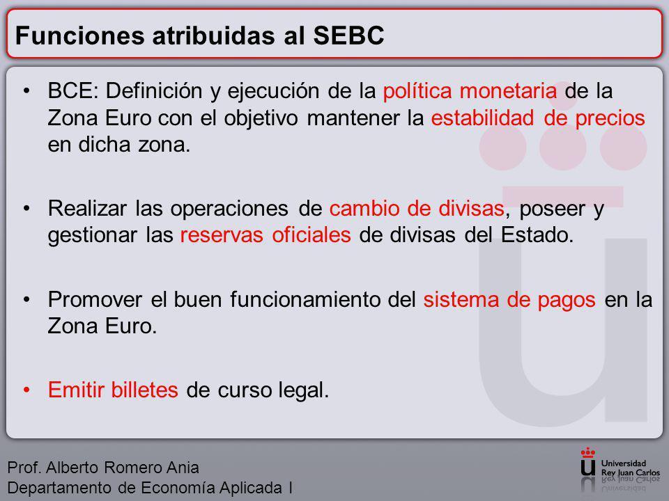 Funciones atribuidas al SEBC BCE: Definición y ejecución de la política monetaria de la Zona Euro con el objetivo mantener la estabilidad de precios en dicha zona.