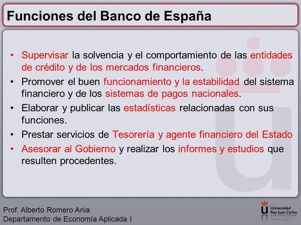 Funciones del Banco de España Supervisar la solvencia y el comportamiento de las entidades de crédito y de los mercados financieros.