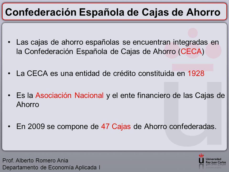 Confederación Española de Cajas de Ahorro Las cajas de ahorro españolas se encuentran integradas en la Confederación Española de Cajas de Ahorro (CECA) La CECA es una entidad de crédito constituida en 1928 Es la Asociación Nacional y el ente financiero de las Cajas de Ahorro En 2009 se compone de 47 Cajas de Ahorro confederadas.