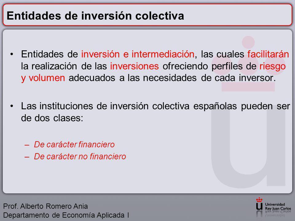 Entidades de inversión colectiva Entidades de inversión e intermediación, las cuales facilitarán la realización de las inversiones ofreciendo perfiles de riesgo y volumen adecuados a las necesidades de cada inversor.