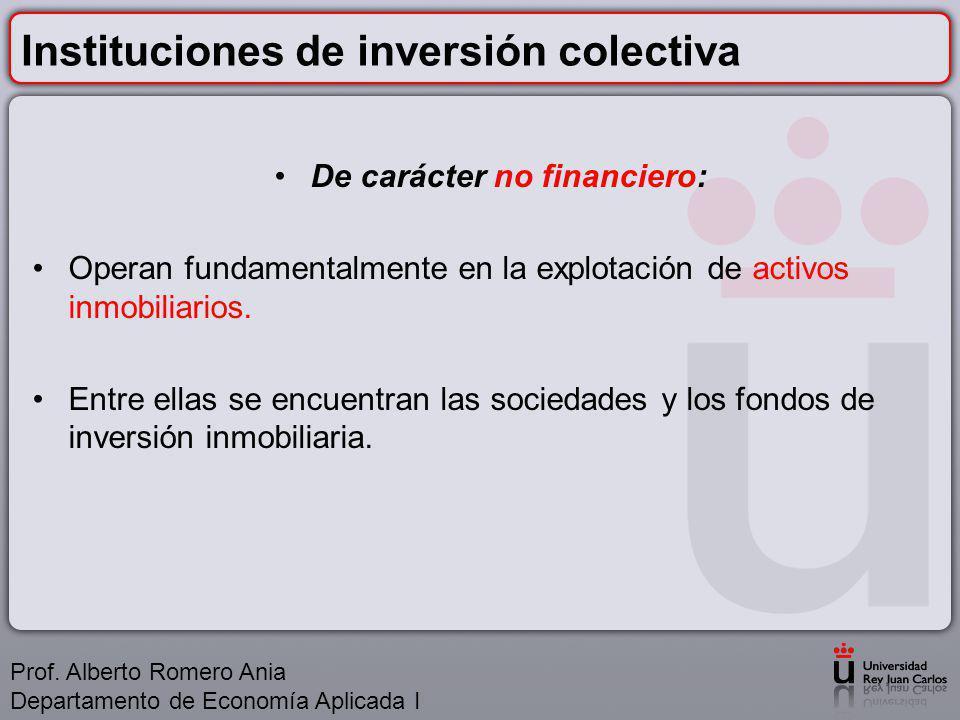 Instituciones de inversión colectiva De carácter no financiero: Operan fundamentalmente en la explotación de activos inmobiliarios.