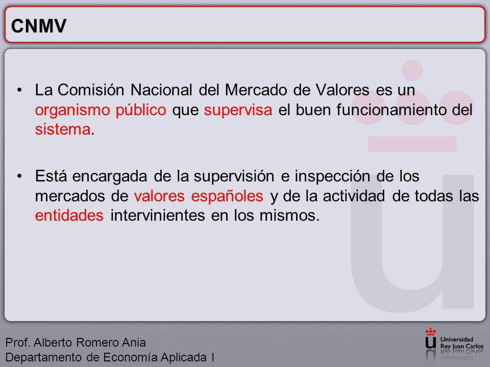 CNMV La Comisión Nacional del Mercado de Valores es un organismo público que supervisa el buen funcionamiento del sistema.