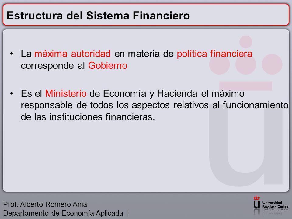Estructura del Sistema Financiero La máxima autoridad en materia de política financiera corresponde al Gobierno Es el Ministerio de Economía y Hacienda el máximo responsable de todos los aspectos relativos al funcionamiento de las instituciones financieras.