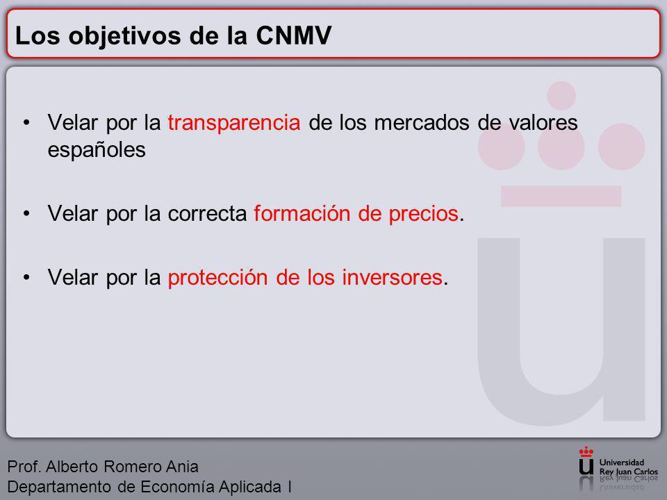Los objetivos de la CNMV Velar por la transparencia de los mercados de valores españoles Velar por la correcta formación de precios.