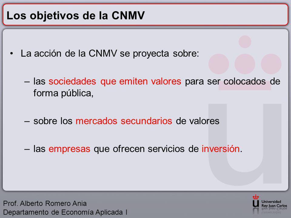 Los objetivos de la CNMV La acción de la CNMV se proyecta sobre: –las sociedades que emiten valores para ser colocados de forma pública, –sobre los mercados secundarios de valores –las empresas que ofrecen servicios de inversión.