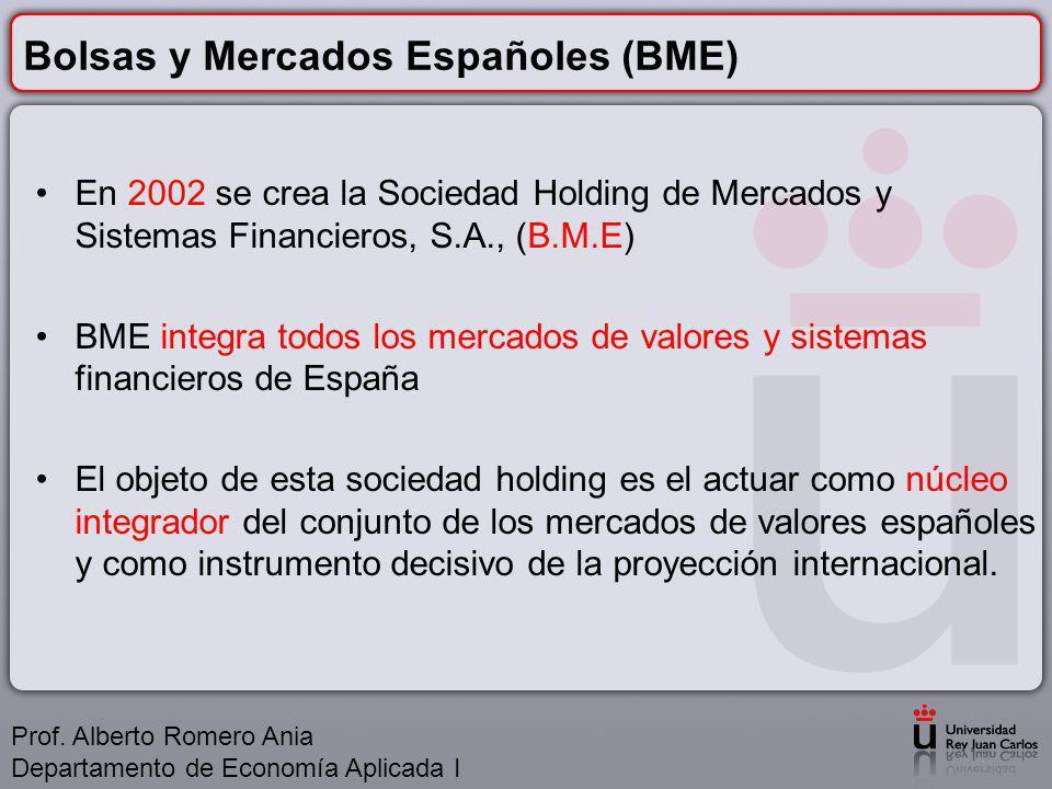 Bolsas y Mercados Españoles (BME) En 2002 se crea la Sociedad Holding de Mercados y Sistemas Financieros, S.A., (B.M.E) BME integra todos los mercados de valores y sistemas financieros de España El objeto de esta sociedad holding es el actuar como núcleo integrador del conjunto de los mercados de valores españoles y como instrumento decisivo de la proyección internacional.