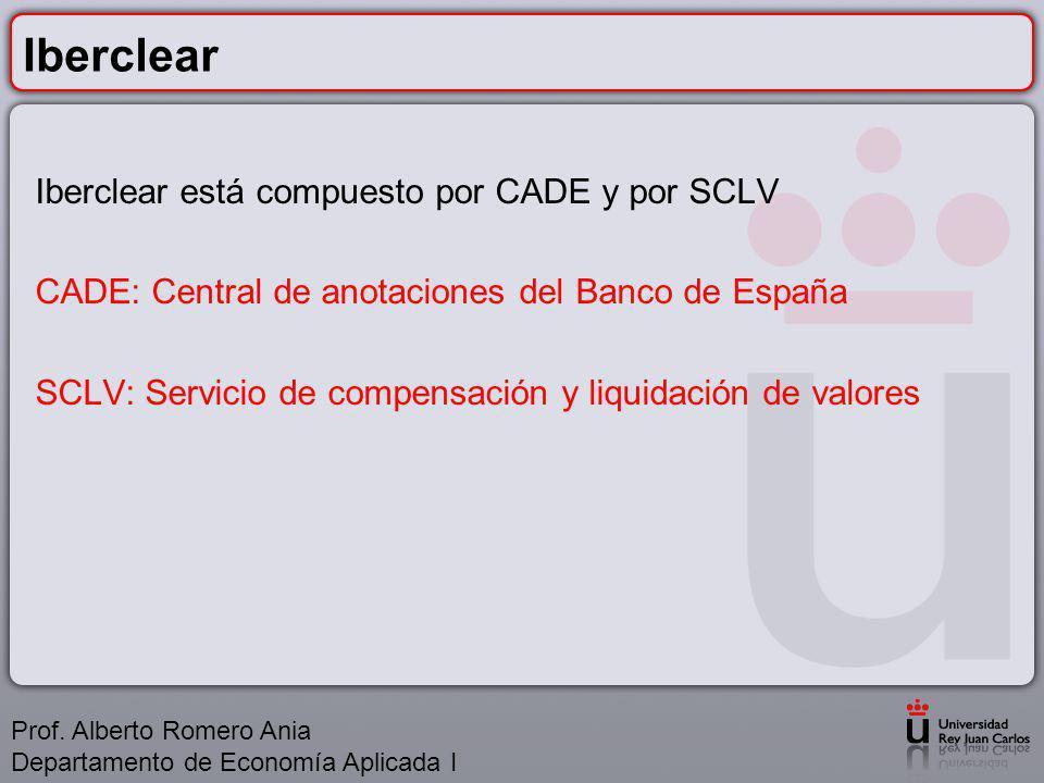 Iberclear Iberclear está compuesto por CADE y por SCLV CADE: Central de anotaciones del Banco de España SCLV: Servicio de compensación y liquidación de valores Prof.
