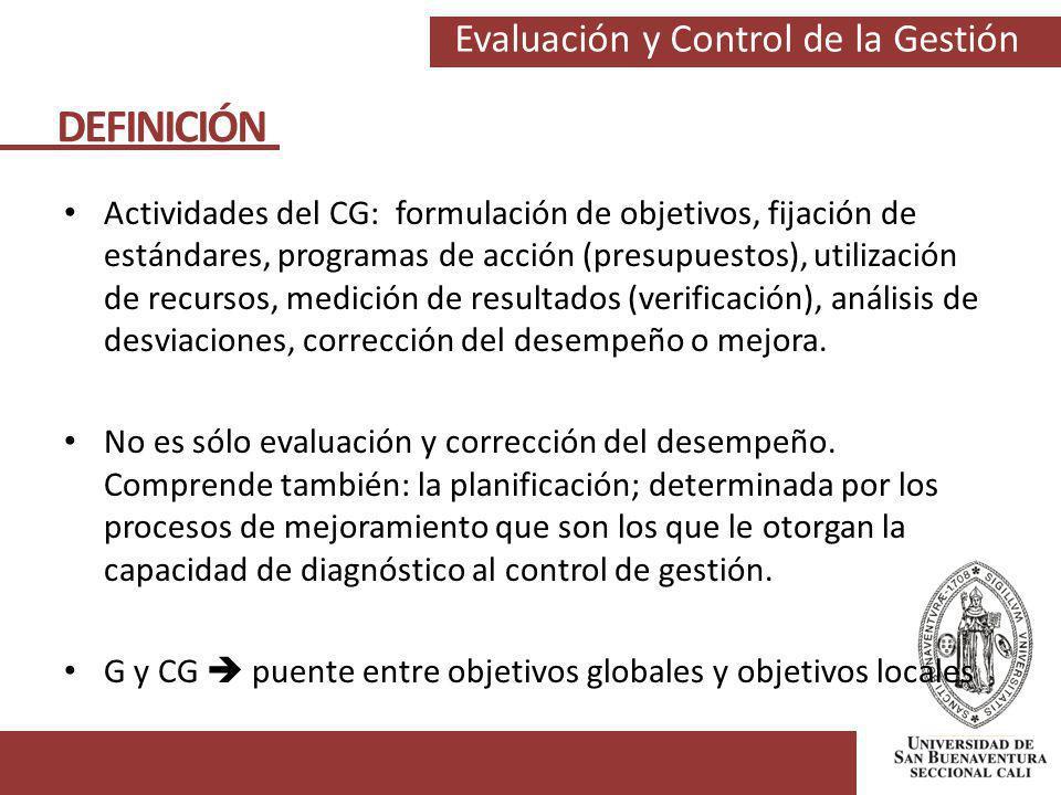 Evaluación y Control de la Gestión Actividades del CG: formulación de objetivos, fijación de estándares, programas de acción (presupuestos), utilizaci