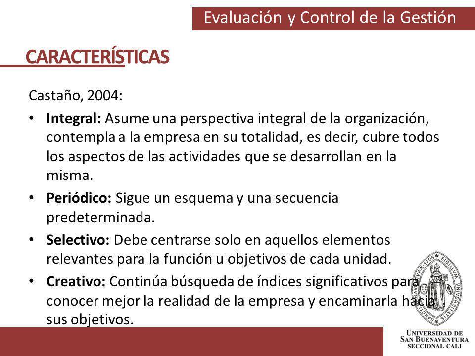 Evaluación y Control de la Gestión Castaño, 2004: Integral: Asume una perspectiva integral de la organización, contempla a la empresa en su totalidad,