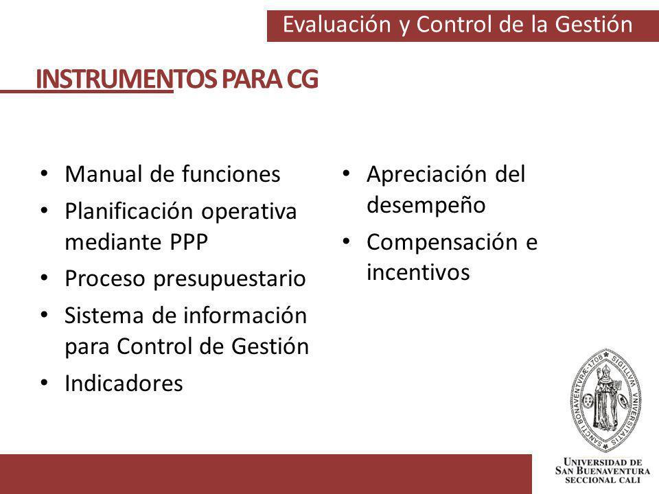 Evaluación y Control de la Gestión INSTRUMENTOS PARA CG Manual de funciones Planificación operativa mediante PPP Proceso presupuestario Sistema de inf