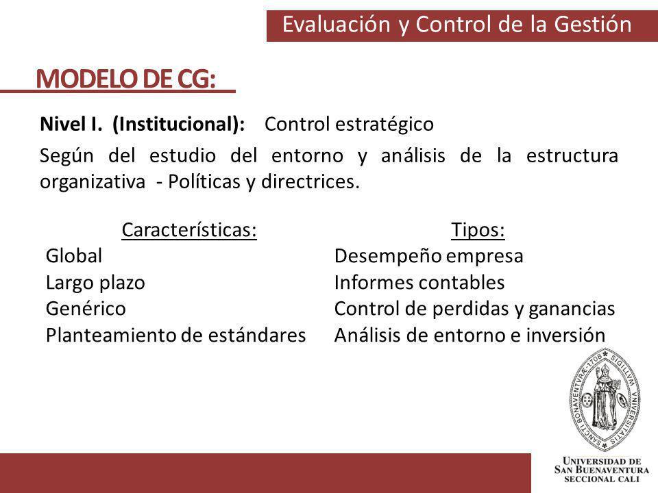 Evaluación y Control de la Gestión MODELO DE CG: Nivel I. (Institucional): Control estratégico Según del estudio del entorno y análisis de la estructu