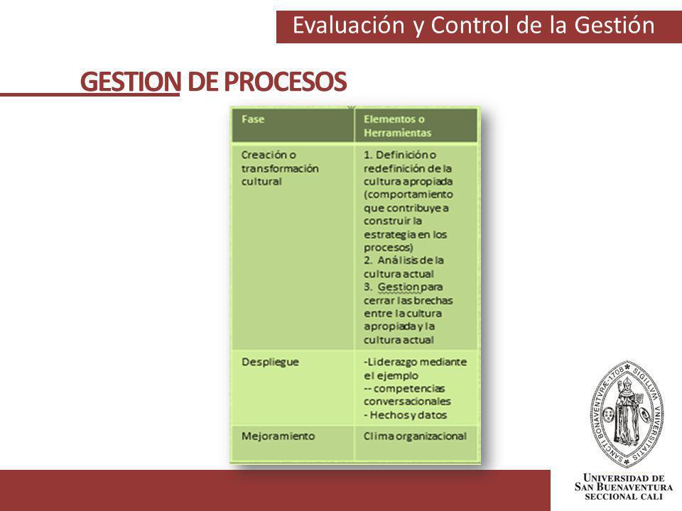 Evaluación y Control de la Gestión GESTION DE PROCESOS
