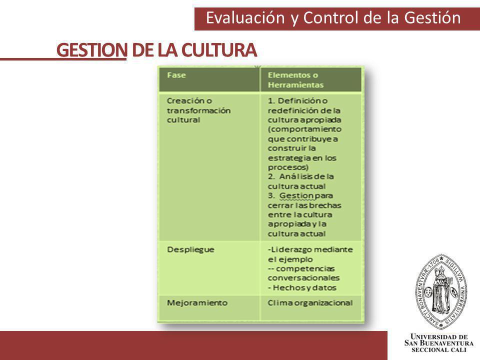Evaluación y Control de la Gestión GESTION DE LA CULTURA