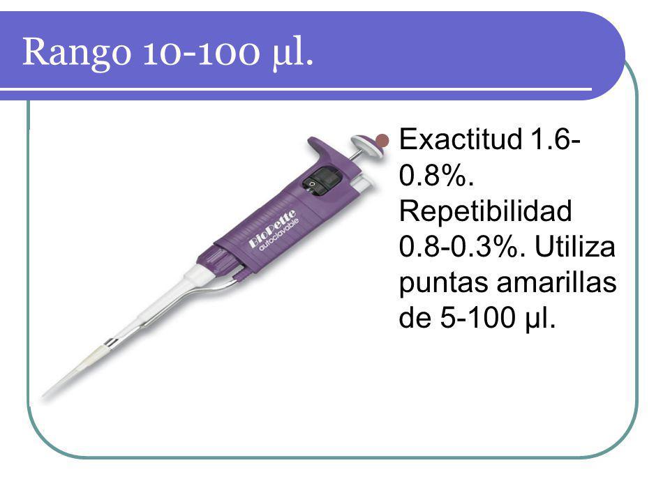Rango 10-100 µl. Exactitud 1.6- 0.8%. Repetibilidad 0.8-0.3%. Utiliza puntas amarillas de 5-100 µl.
