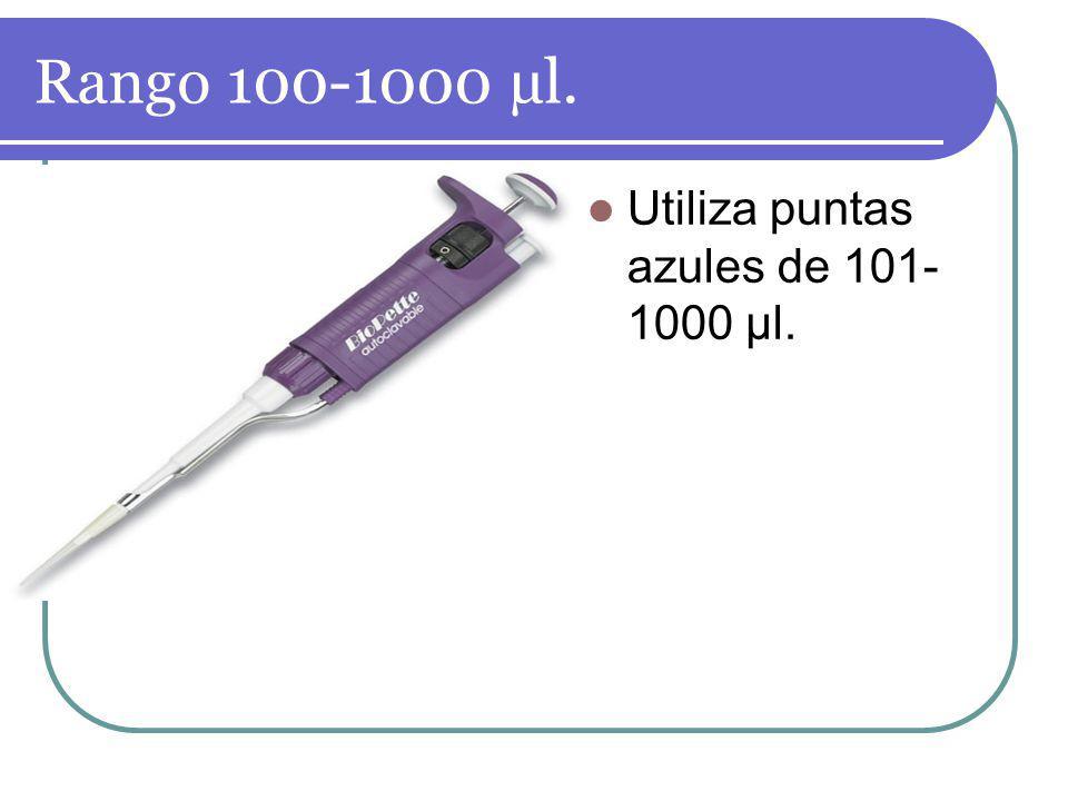 Rango 100-1000 µl. Utiliza puntas azules de 101- 1000 µl.