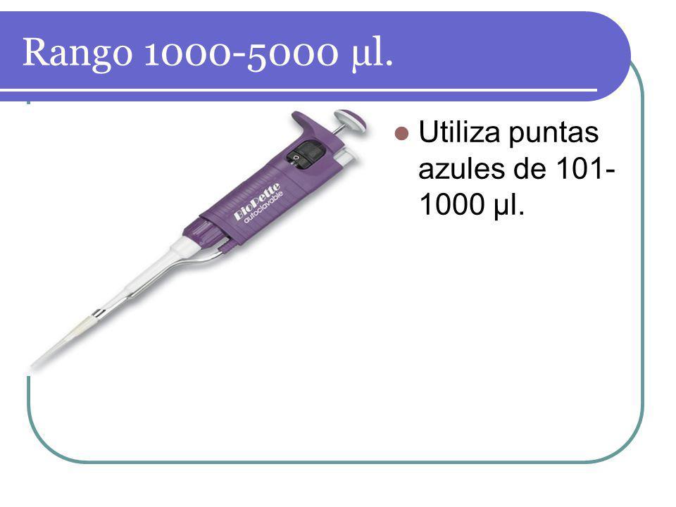 Rango 1000-5000 µl. Utiliza puntas azules de 101- 1000 µl.