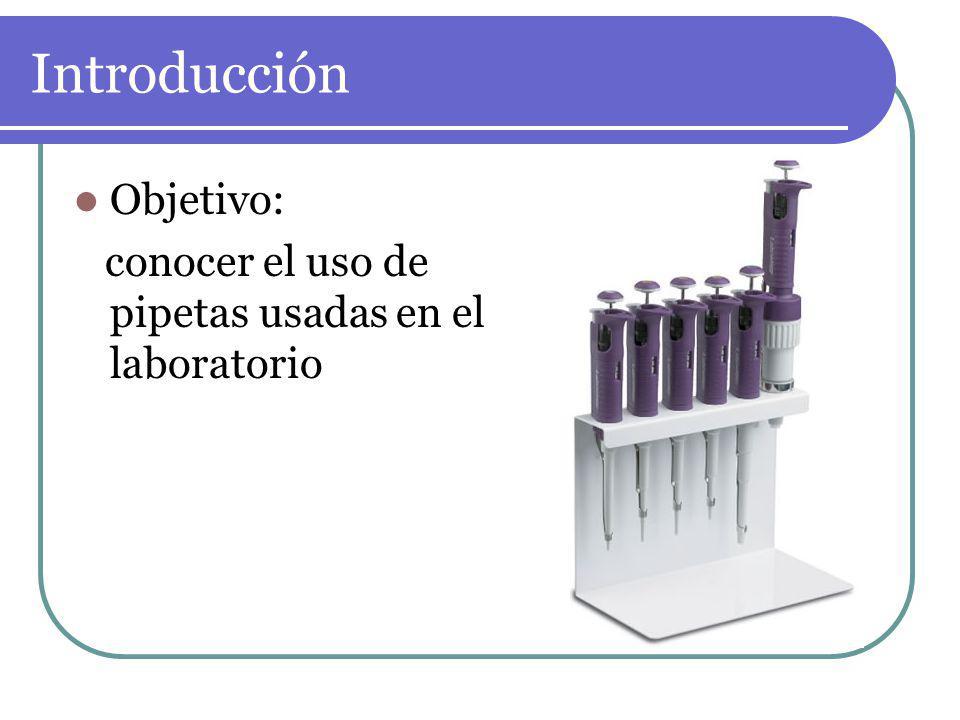 Introducción Objetivo: conocer el uso de pipetas usadas en el laboratorio