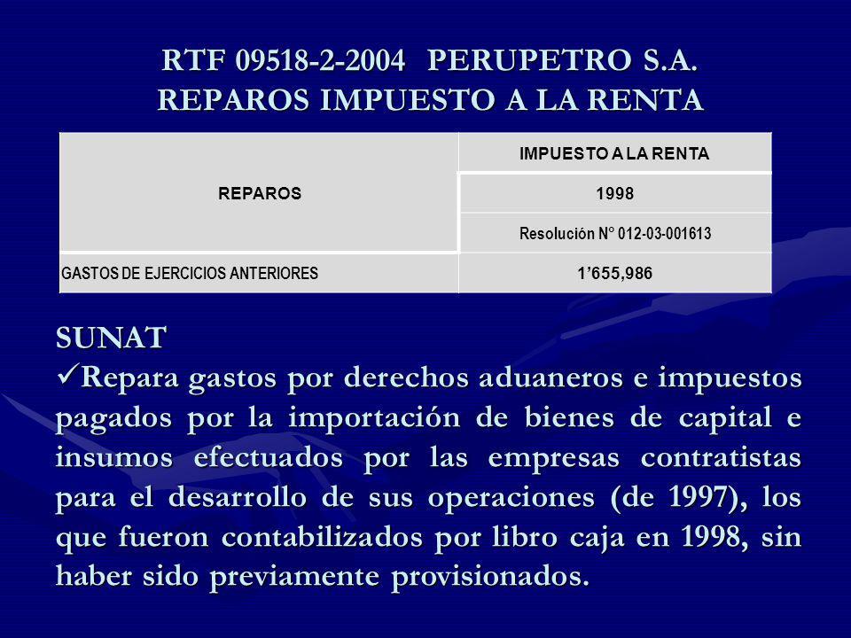RTF 09518-2-2004 PERUPETRO S.A. REPAROS IMPUESTO A LA RENTA REPAROS IMPUESTO A LA RENTA 1998 Resolución N° 012-03-001613 GASTOS DE EJERCICIOS ANTERIOR