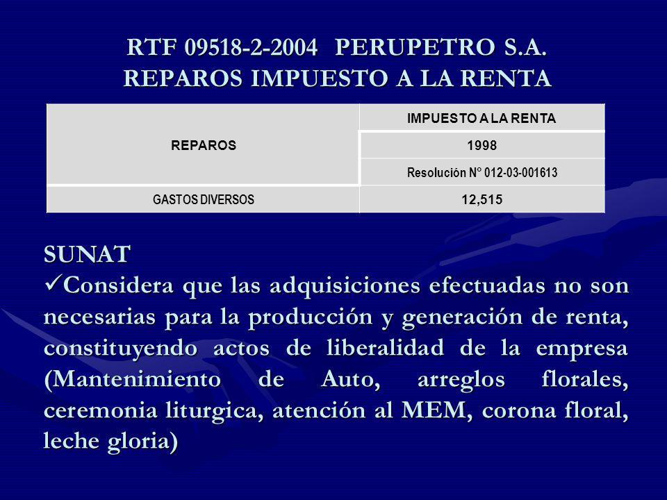 RTF 09518-2-2004 PERUPETRO S.A. REPAROS IMPUESTO A LA RENTA REPAROS IMPUESTO A LA RENTA 1998 Resolución N° 012-03-001613 GASTOS DIVERSOS 12,515 SUNAT