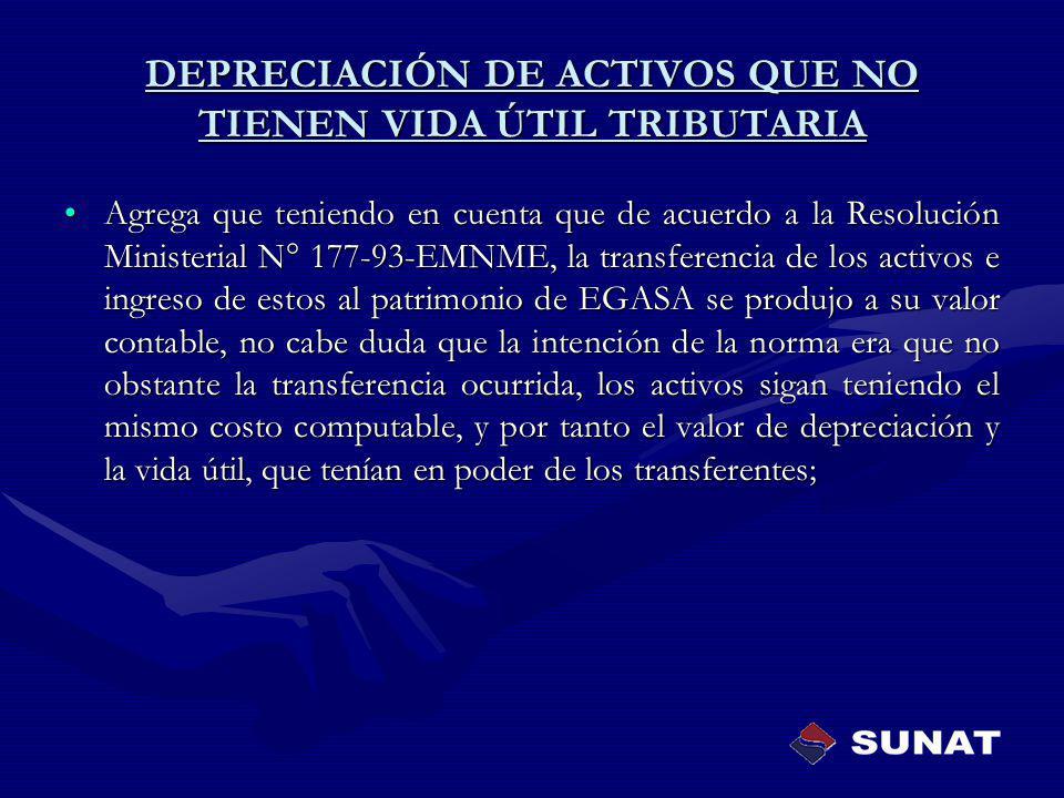 Agrega que teniendo en cuenta que de acuerdo a la Resolución Ministerial N° 177-93-EMNME, la transferencia de los activos e ingreso de estos al patrim
