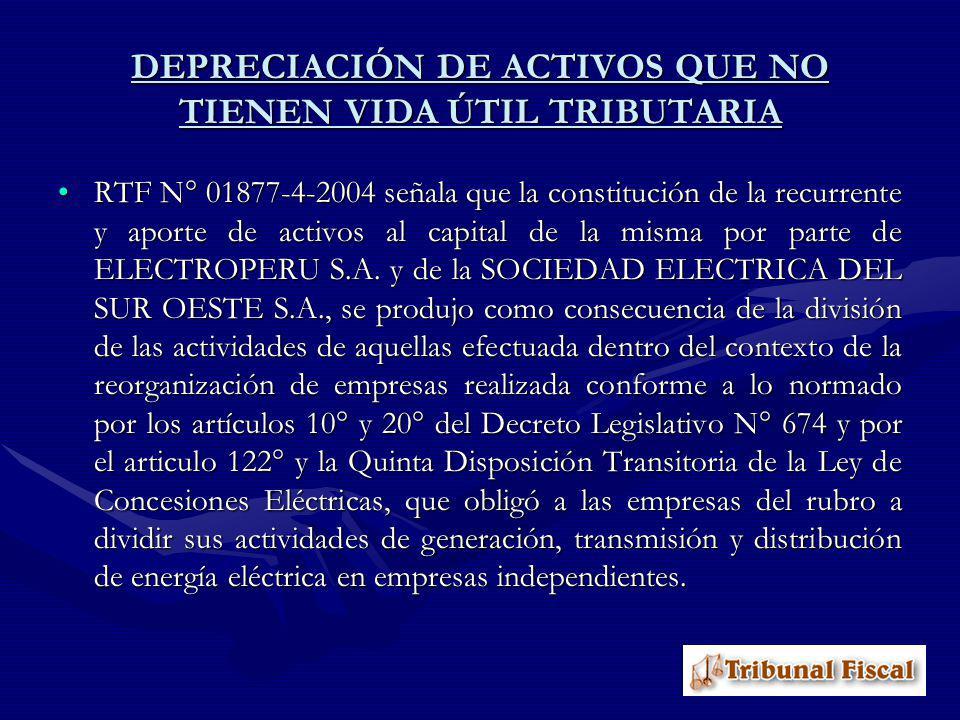 RTF N° 01877-4-2004 señala que la constitución de la recurrente y aporte de activos al capital de la misma por parte de ELECTROPERU S.A. y de la SOCIE