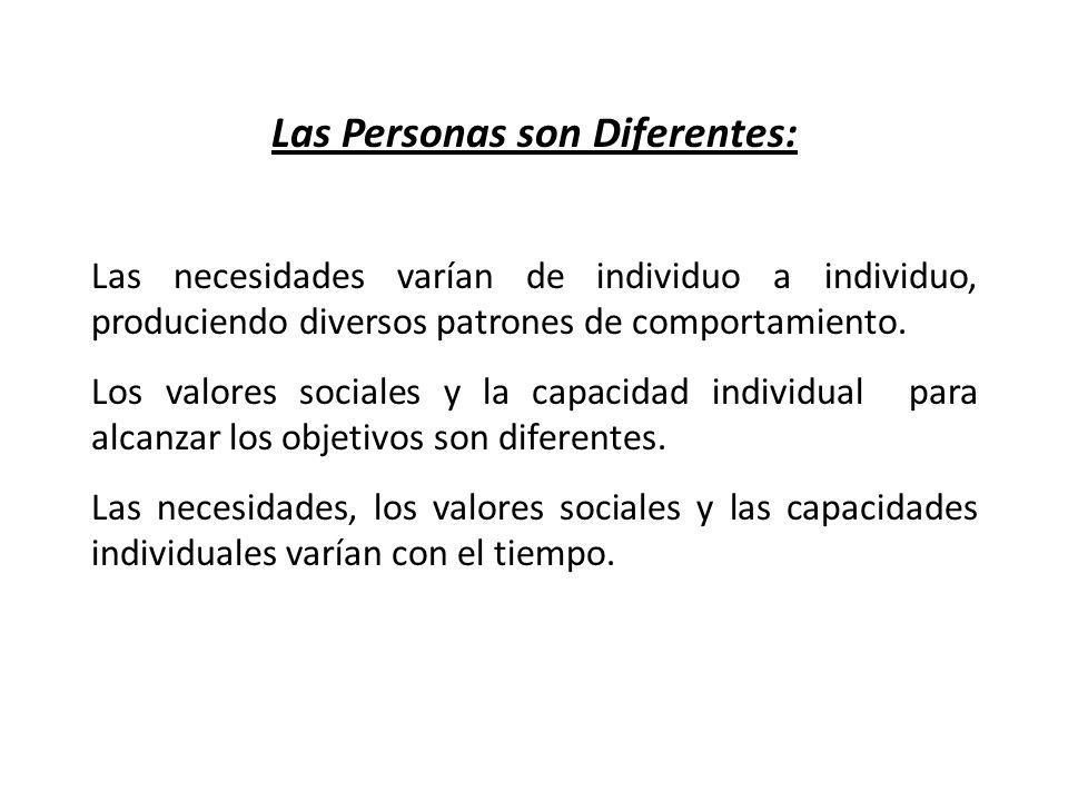 Las Personas son Diferentes: Las necesidades varían de individuo a individuo, produciendo diversos patrones de comportamiento. Los valores sociales y