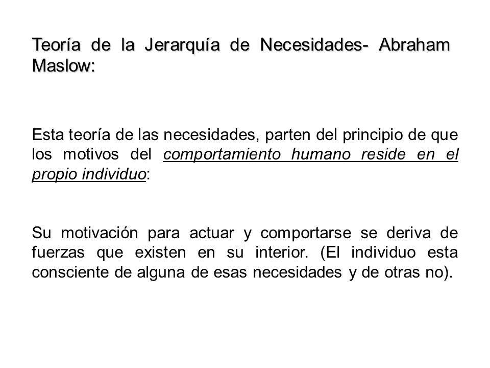 Teoría de la Jerarquía de Necesidades- Abraham Maslow: Esta teoría de las necesidades, parten del principio de que los motivos del comportamiento huma