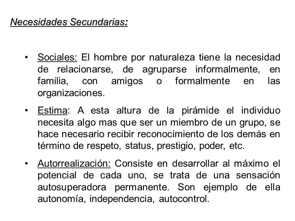 Necesidades Secundarias: Sociales: El hombre por naturaleza tiene la necesidad de relacionarse, de agruparse informalmente, en familia, con amigos o f