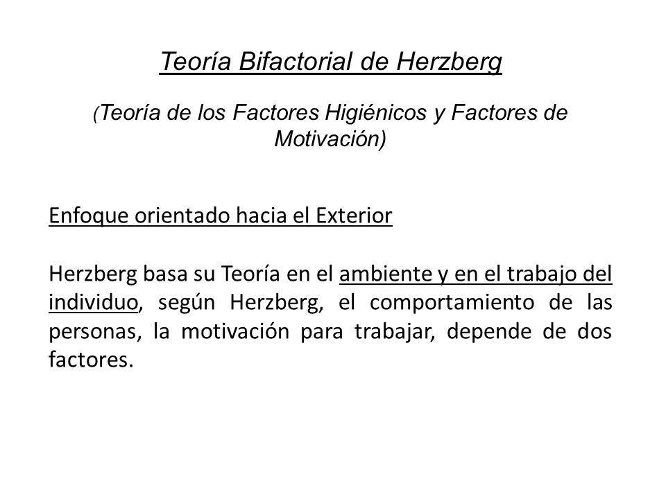 Teoría Bifactorial de Herzberg ( Teoría de los Factores Higiénicos y Factores de Motivación) Enfoque orientado hacia el Exterior Herzberg basa su Teor